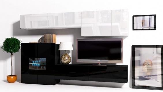 Mediawand Wohnwand 8 tlg - Konzept 16 - Schwarz/ Weiss Hochglanz + LED