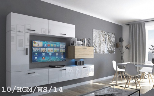 Mediawand Wohnwand 7 tlg - Bedox 3 -Weiss HGL- Sonoma matt Nr.1 +LED