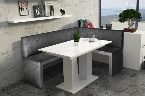 Eckbankgruppe 196x142 cm ROBIN XL L Vin..Schwarz/ Tisch DANTE Weiss