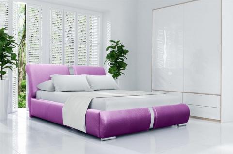 Polsterbett Bett Doppelbett NIKA Kunstleder Lila 160x200cm