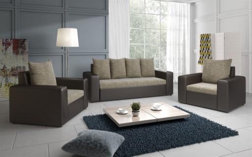 Sofa Set NINA 3-1-1 Sofagarnitur in Braun / Cappuccino