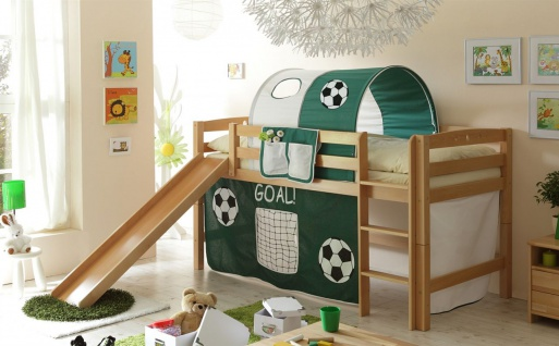 Hochbett ROBI R mit Rutsche Buche Natur + Vorhang Fussball