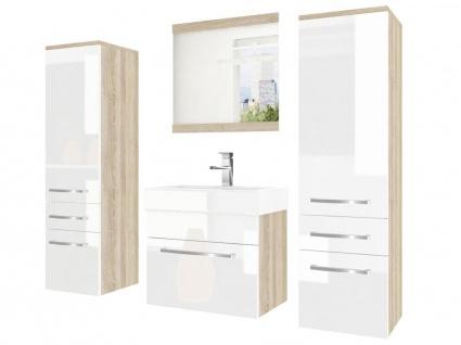 Badmöbel Set 4-tlg MARIO Set.5 Sonoma-Weiß HGL inkl.Waschtisch 50 cm