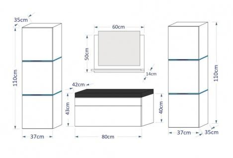 Badmöbel Set 5-Tlg Weiss HGL LOBOS inkl.80 cm Waschtisch und LED - Vorschau 3