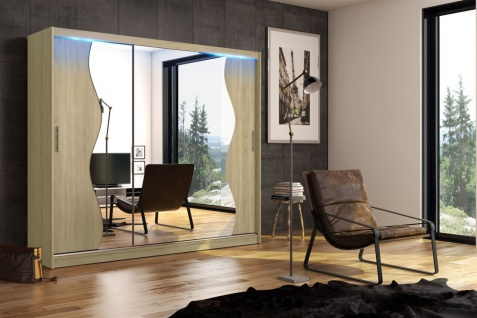 Schiebetürenschrank Schrank DOLM 05 Sonoma matt 250x218 cm inkl.LED - Vorschau 1