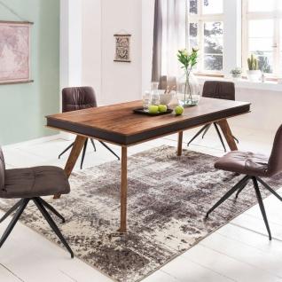 Esszimmertisch Tisch SALONI 180x90 cm Kunstleder Massivholz Sheesham