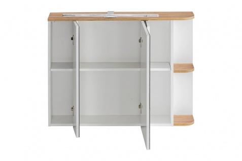 Badmöbel Set 3-tlg Badezimmerset PLATIN Weiss HGL ohne Waschtisch - Vorschau 4