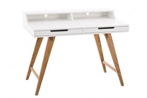 Schreibtisch Konsole Sekretär ADRIAN 110x85x60 cm Weiss-Eiche