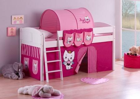 Spielbett Bett -LANDI - Angel Cat -Teilbar - Kiefer Weis - mit Vorhang