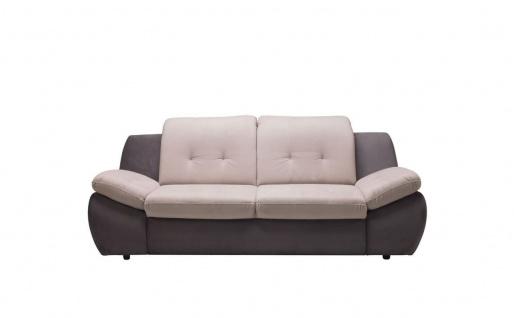 Sofa 3-Sitzer PEDRO Polyesterstoff Grau / Beige 205x84x113 cm