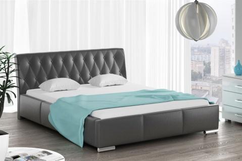 Polsterbett Bett Doppelbett THORE Kunstleder Schwarz 140x200cm