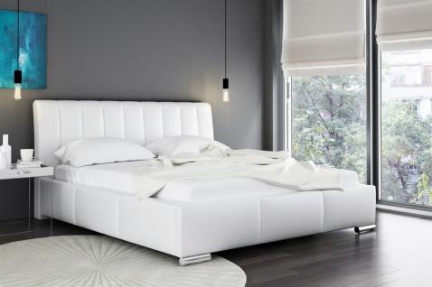 Polsterbett Bett Doppelbett MARLON Kunstleder Weiss 180x200cm