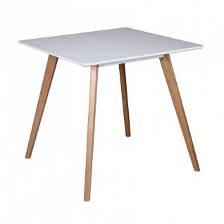 Esstisch Tisch - ELMAR - Vierfußtisch 80x80 cm MDF Weiß Matt / Eiche