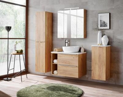 Badmöbel Set 7-tlg Badezimmerset PERUGIA Gold Eiche Set.1