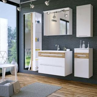 Badmöbel Set 5-tlg Badezimmerset LAXY 2-Weiss HGL inkl.Waschtisch 80cm