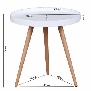 Beistelltisch Tisch ALVA 50x50 cm Weiss matt/ Buche - Vorschau 2