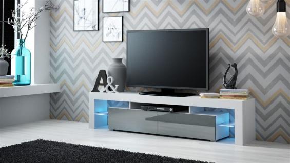 TV Board Lowboard JACK Weiss / Grau Hochglanz 200cm