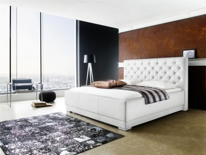 Polsterbett Bett Doppelbett Tagesbett - BARCELONA - 160x200 cm Weiss