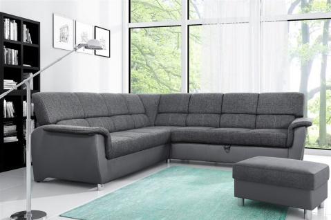 Couchgarnitur Riccardo inkl. Hocker L-Form mit Schlaffunktion Grau