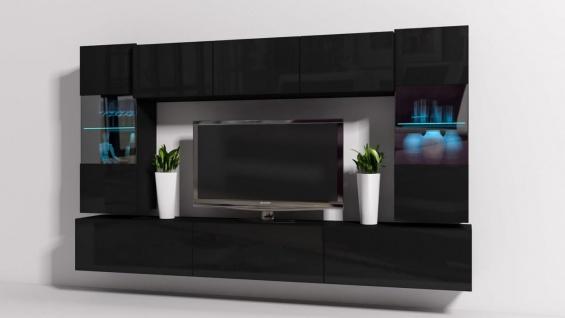 Mediawand Wohnwand 8 tlg - Konzept 27 - Schwarz Hochglanz