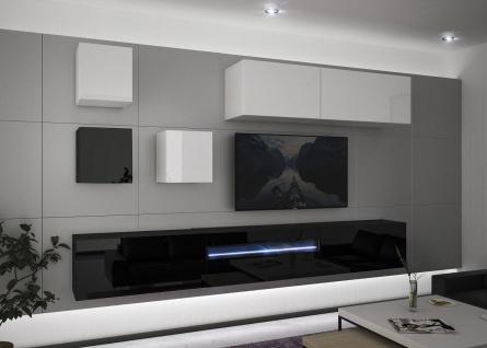 Mediawand Wohnwand 8 tlg - NEXI 10 - Schwarz- Weiss Hochglanz inkl.LED