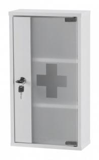 Medizinschrank - AID -abschließbar Erste Hilfe Schrank weiß 48x26x12cm