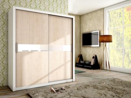Schiebetürenschrank Schrank BRIT Weiss /Sonoma + Weissglas 180x200 cm