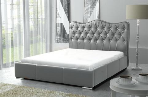 Polsterbett Bett Komplettset SULTAN Kunstleder Grau 140x200cm