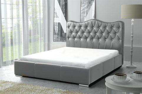 Polsterbett Bett Komplettset SULTAN Kunstleder Grau 180x200cm