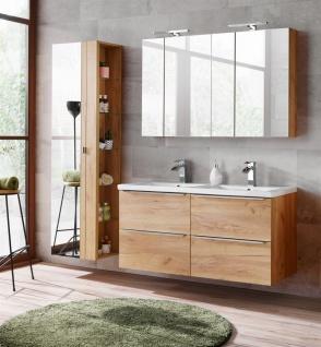 Badmöbel Set 6-tlg Badezimmerset PERUGIA Gold Eich inkl.Waschbecken