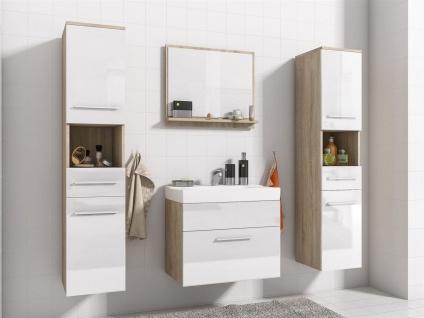 Badmöbel Set 5-Tlg Sonoma / Weiss Hochglanz LIVO XL inkl.Waschtisch