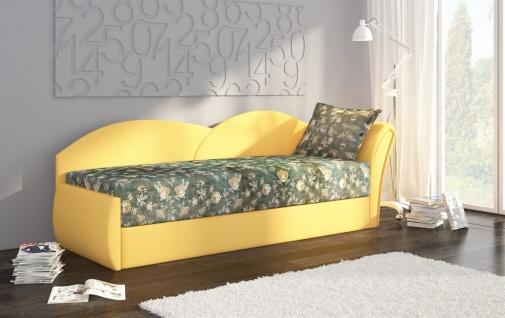 Sofa Schlafsofa inklusive Bettkasten ALINA / R - Gelb / Muster