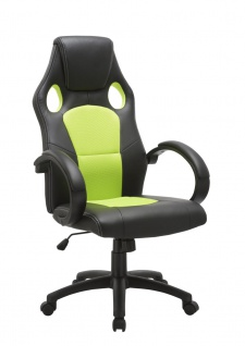 Drehstuhl Bürostuhl Stuhl - Sport - Kunstleder Schwarz - Grün
