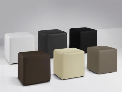 Sitzwürfel Sitzhocker Hocker - KUBUS - Kunstleder Weiß 40x40x45 cm - Vorschau 2