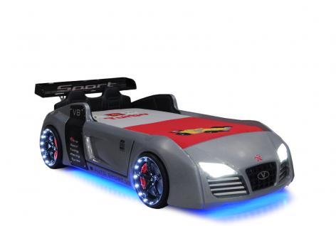 Autobett Kinderbett Bett - Turbo - Grau inkl. Beleuchtung