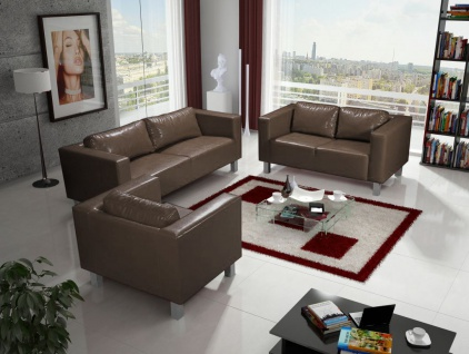 Sofa Set MAILAND 3-2-1 Sofagarnitur in Kunstleder Braun