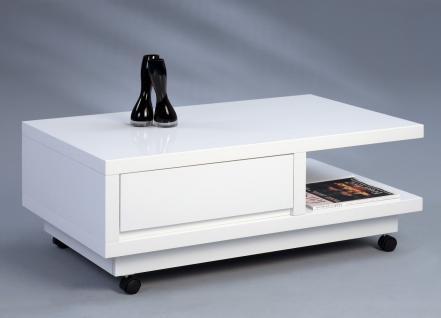 Couchtisch Beistelltisch - Wera - 100x60 cm Hochglanz weiss