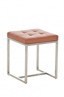 Sitzhocker - BRIT 2 - Hocker Sessel Kunstleder Hellbraun 40x40cm