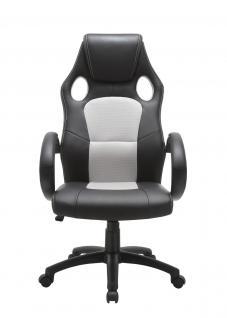 Drehstuhl Bürostuhl Stuhl - Sport - Kunstleder Schwarz - Grau