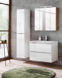 Badmöbel Set 4-tlg Badezimmerset PERUGIA Weiss inkl.Waschbecken 80cm
