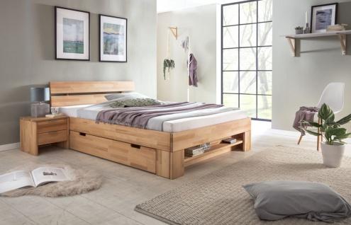 Massivholzbett Schlafzimmerbett FRANKO Set 2 Kernbuche 200x200 cm