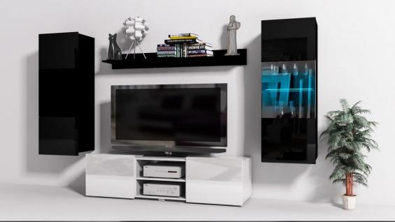 Mediawand Wohnwand 4 tlg - Konzept 32 - Weiss/ Schwarz Hochglanz +LED