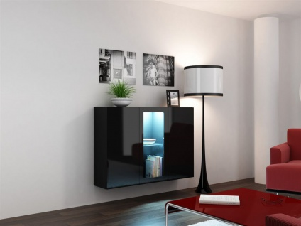 "Sideboard Hängesideboard "" LUGO"" 120x38x90 cm Schwarz HGL mit LED"