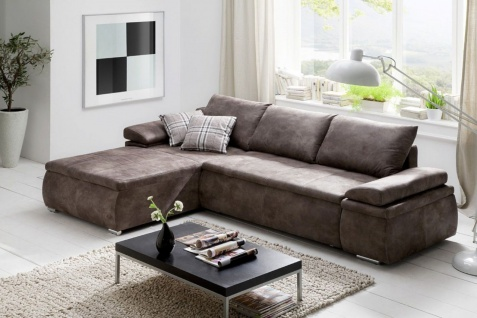 Couchgarnitur Camilla L-Form Bezug in Vintage-Braun