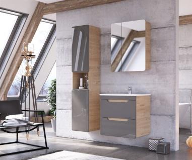 Badmöbel Set 3-tlg Badezimmerset FERMO Grau HGL inkl. Waschtisch 60cm