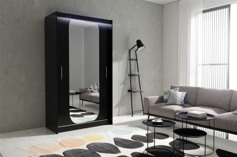 Schiebetürenschrank Schrank DOLM 11 Schwarz matt 120x213 cm inkl.LED