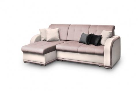Ecksofa Sofa LINDO mit Schlaffunktion Creme-Rose Ottomane Links