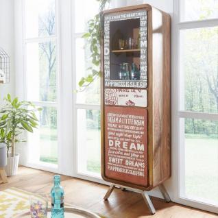 Highboard Esszimmerschrank 53x38x180 cm ALMARIA Holz Massiv Landhaus