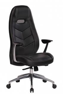Drehstuhl Bürostuhl Chefsessel LAREDO -Echtleder Schwarz