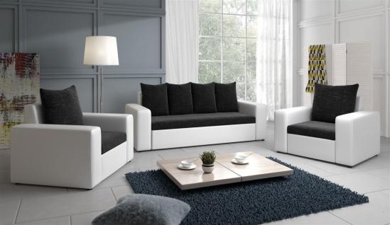 Sofa Set NINA 3-1-1 Sofagarnitur in Weiss / Schwarz
